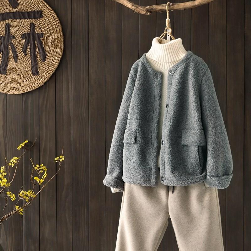 램스울 숏 코트 자켓 라운드 양털 뽀글이 아우터 겨울 캐주얼 데일리룩