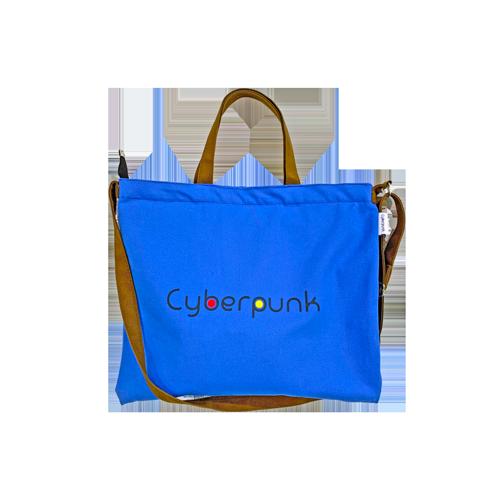사이버펑크 지퍼 크로스 포켓 에코백 가방 (코발트블루/아이보리/그레이)