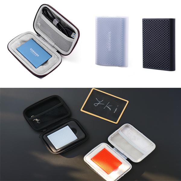 와이키몰 삼성 T3 T5 SSD 보호 케이스 휴대용 풀케이스 쉘케이스 실리콘케이스 외장하드 포터블, 하드 쉘케이스+레드 실리콘케이스 (POP 1809999826)