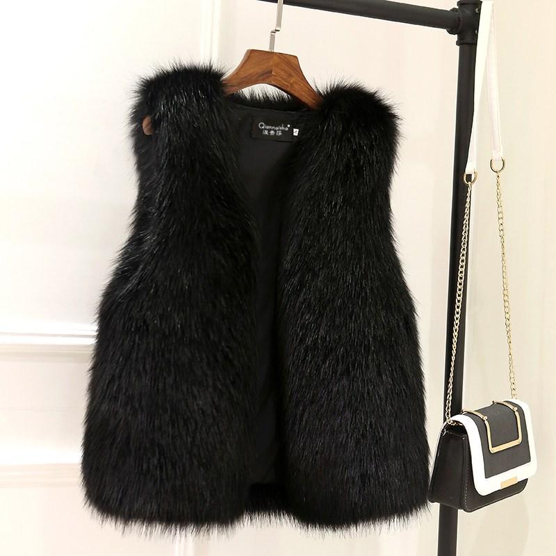 폭스 라이크 모피 베스트 조끼 여성 숏 겨울 가을 두꺼운 털 나시니트 밍크 레더 코트 퍼조끼옷