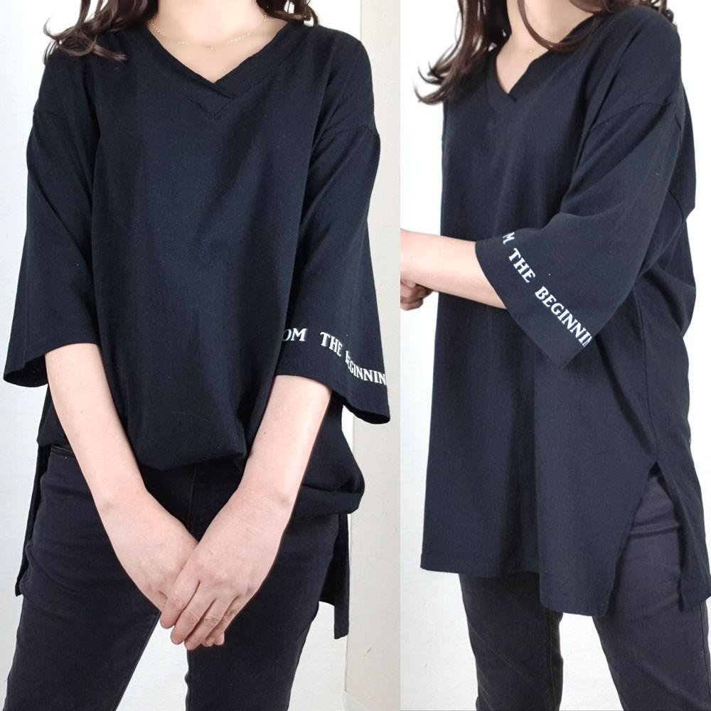 지나블리스 루즈핏 빅사이즈 브이넥 롱 티셔츠 2004112 반팔