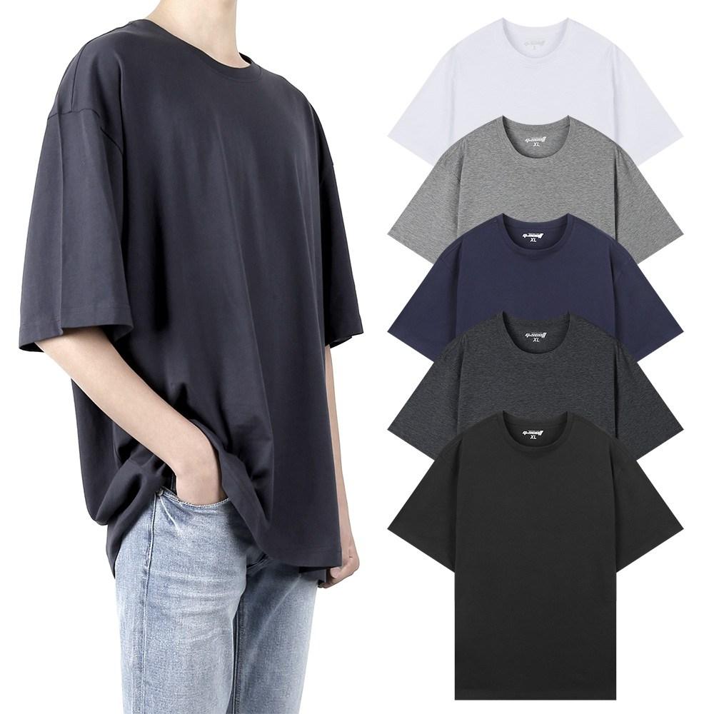 지스캇 남녀공용 바이오워싱 리얼 오버핏 무지 반팔 티셔츠, MOT-N1-블랙