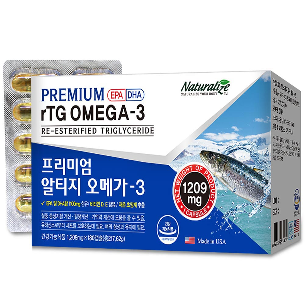 미국산 고함량 rTG 알티지 오메가3 6개월분 EPA DHA 혈행개선 영양제