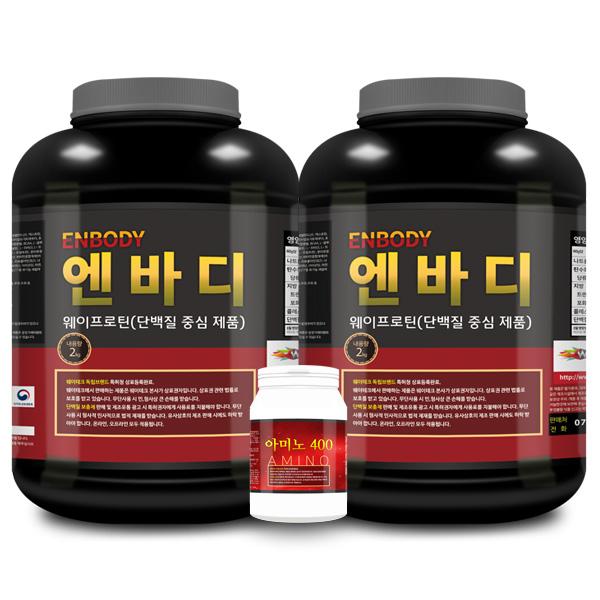 엔바디 1+1 웨이프로틴 단백질보충제 아미노400 증정, 2kg, 2개