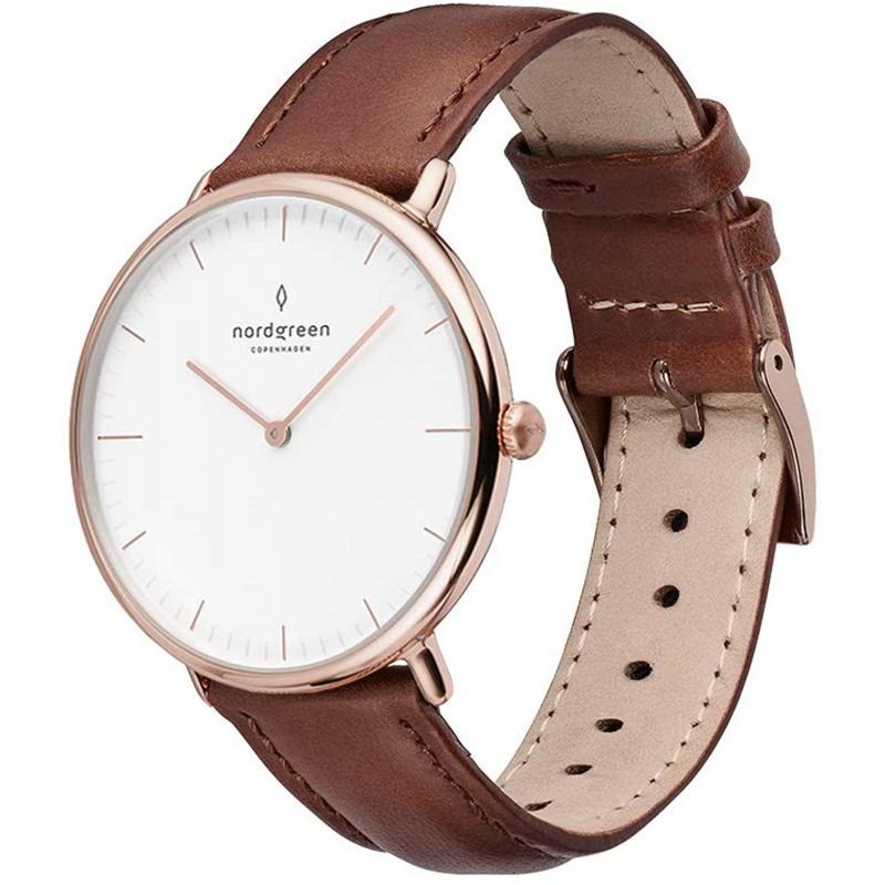 [세트]Nordgreen[노드 그린][Native]로즈 골드 색의 36mm북유럽 디자인 손목 시계와 교체 가능한 벨트 3