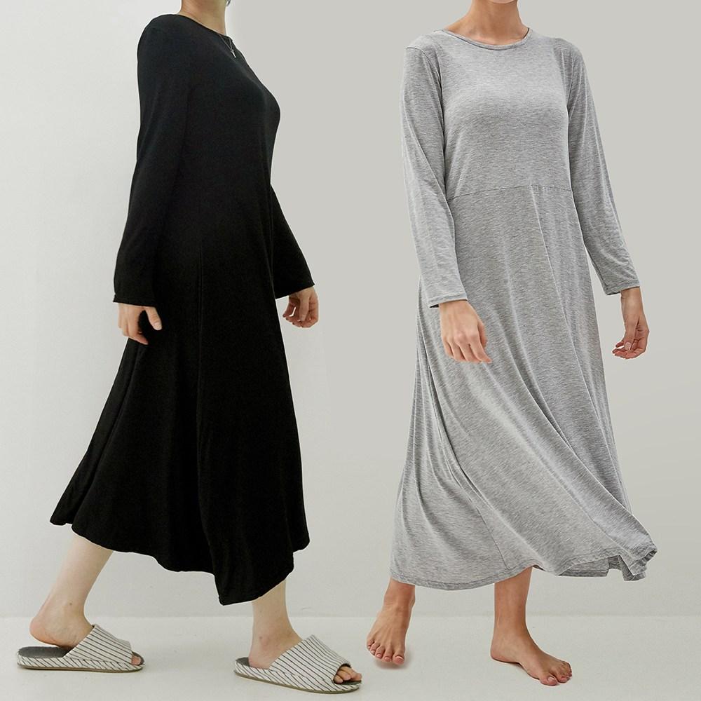 모달 여자 홈웨어 롱원피스 긴팔잠옷 파자마