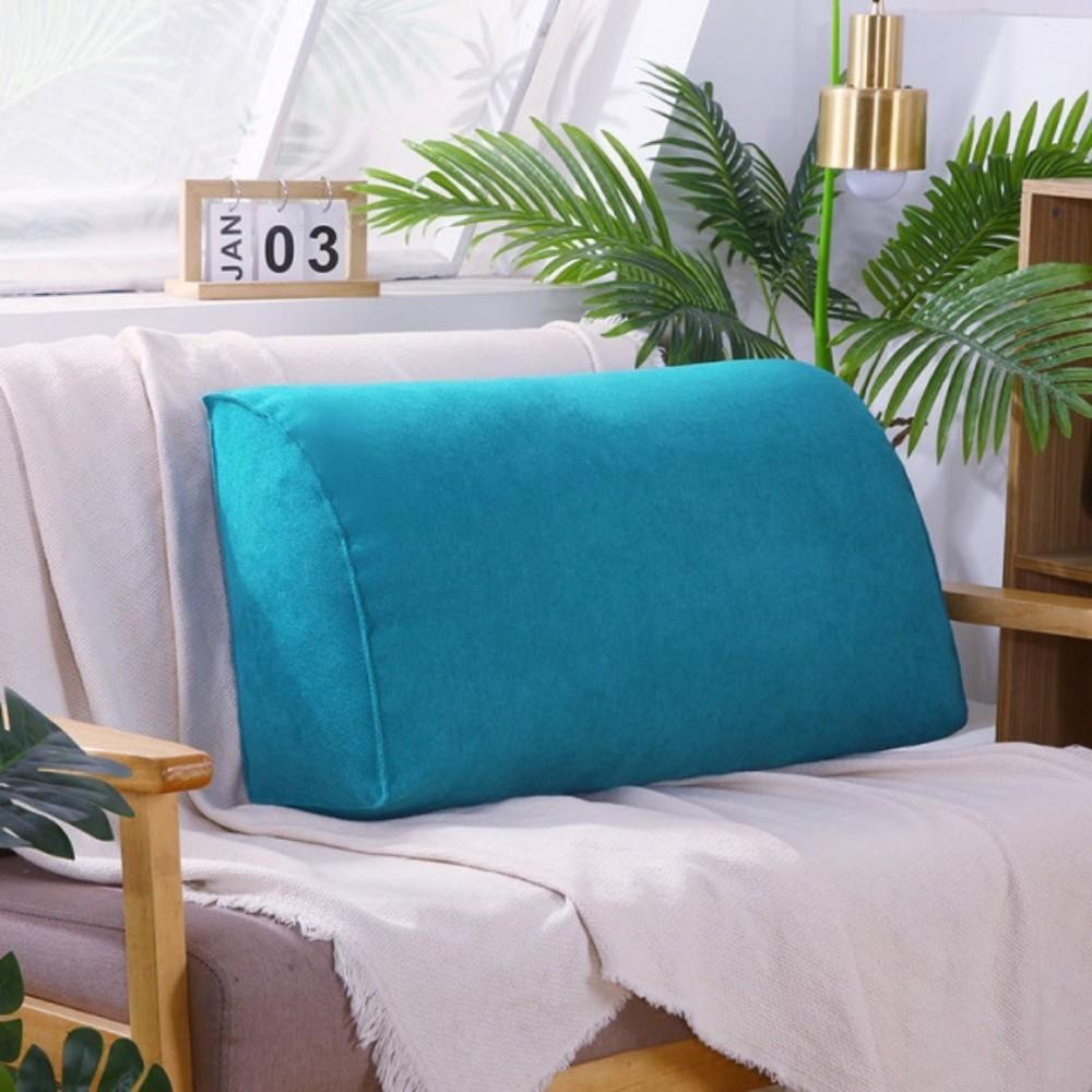 쇼파 침실 대형 등쿠션 푹신하고 사이즈가 큰 푹신한 삼각 사각 요추베개 기숙사 침대 거실 임산부 등받이쿠션, 70x35x17(진주면+코트) + 연한 파랑 (POP 5890261732)