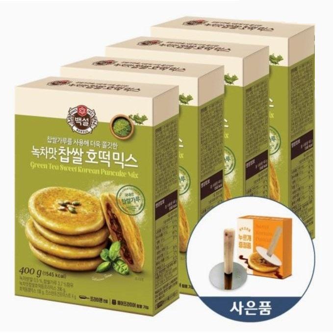 CJ 백설 녹차맛 찹쌀 호떡믹스 400g 4개 + 호떡 누르개 증정, 4개 + 누르개 1세트