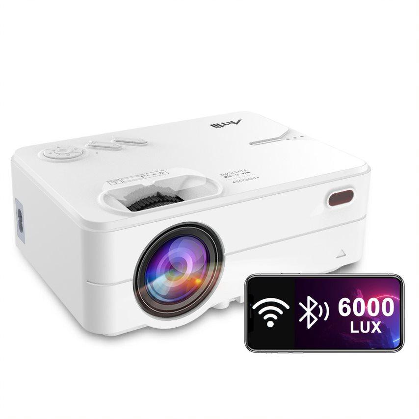 아트리 인조이 2 HD 와이파이 블루투스 5500L 프로젝터 스마트폰 스크린 미러링 포함 화이트