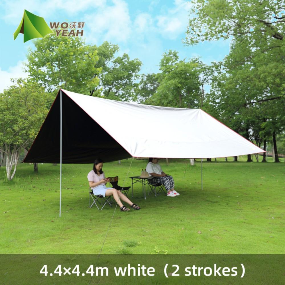자외선차단 블랙코팅 홀리데이 렉타 타프 캠핑 차박용 텐트 스크린 제작 폴대 타프쉘 고투, 4.4 × 4.4m 2 폴비치 랜드를 보내는 흰색