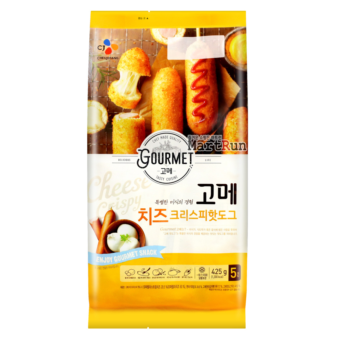 CJ 고메 치즈크리스피 핫도그 425g(5개입) 개별포장, (CJ) 고메 치즈 크리스피 핫도그 425g