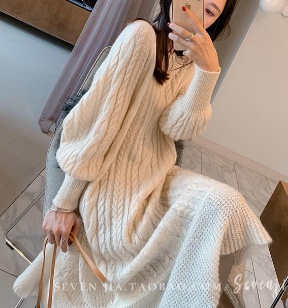 유케이 데일리 니트 원피스 예쁜 긴팔 여성원피스MS1856