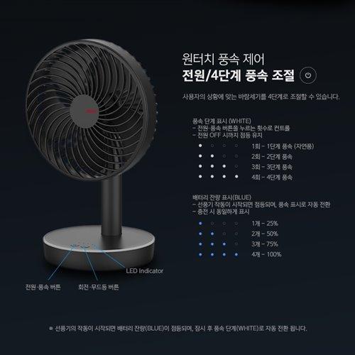 원터치 4단계 풍속 조절 탁상용 무선 선풍기 (POP 5543604568)