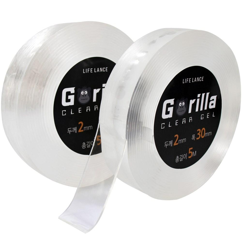 10M(5Mx2개) 접착흔적 없는 고릴라 클리어겔 실리콘 방수 양면테이프 대용량, 두께 2mm x 폭 30mm x 총길이 10M