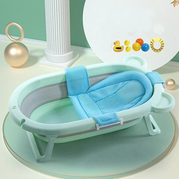 뽀뽀아가 어린이 욕조 접이식 아기욕조 신생사 욕조ET0063 유아욕조, 그린+망사 시트