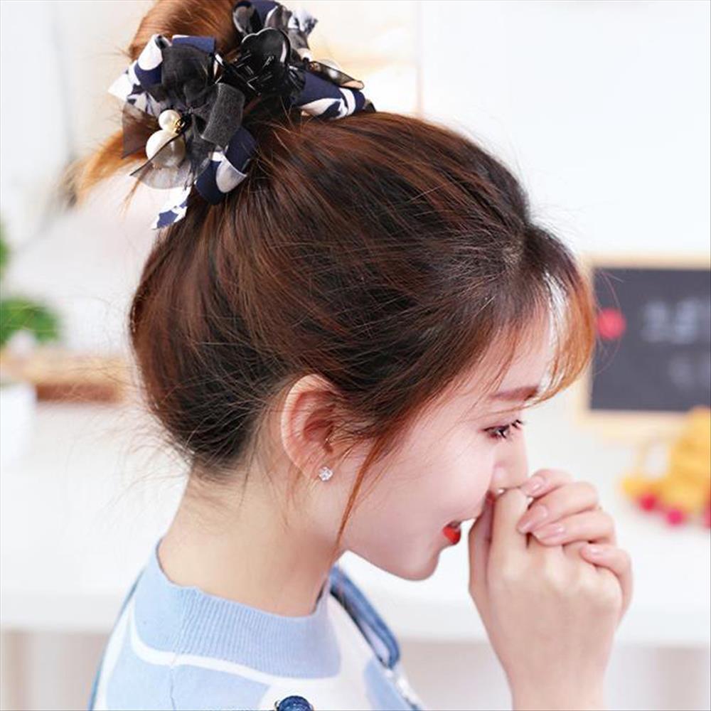그린코코 리본 진주방울 올린머리 집게핀 헤어핀