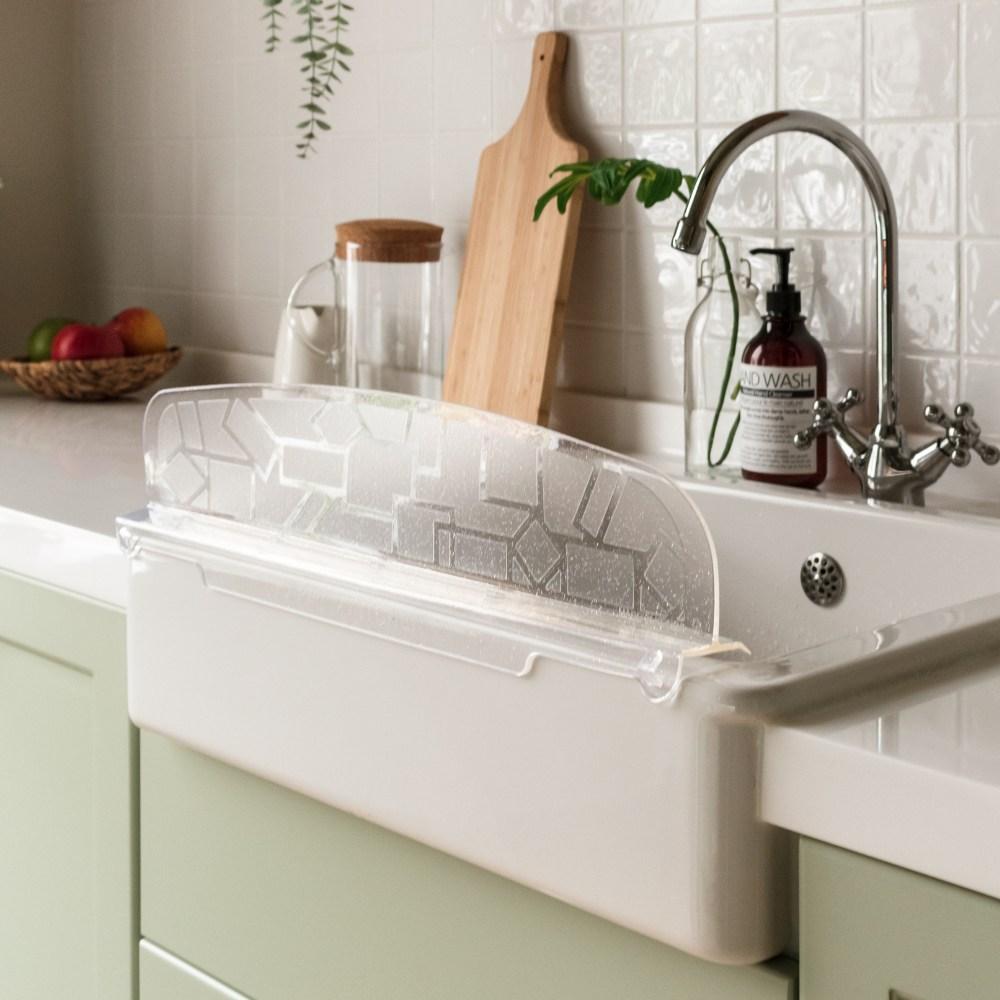 싱크대 물막이/주방 설겆이 물튀김방지 물받이 실리콘, 싱크대 물막이-투명