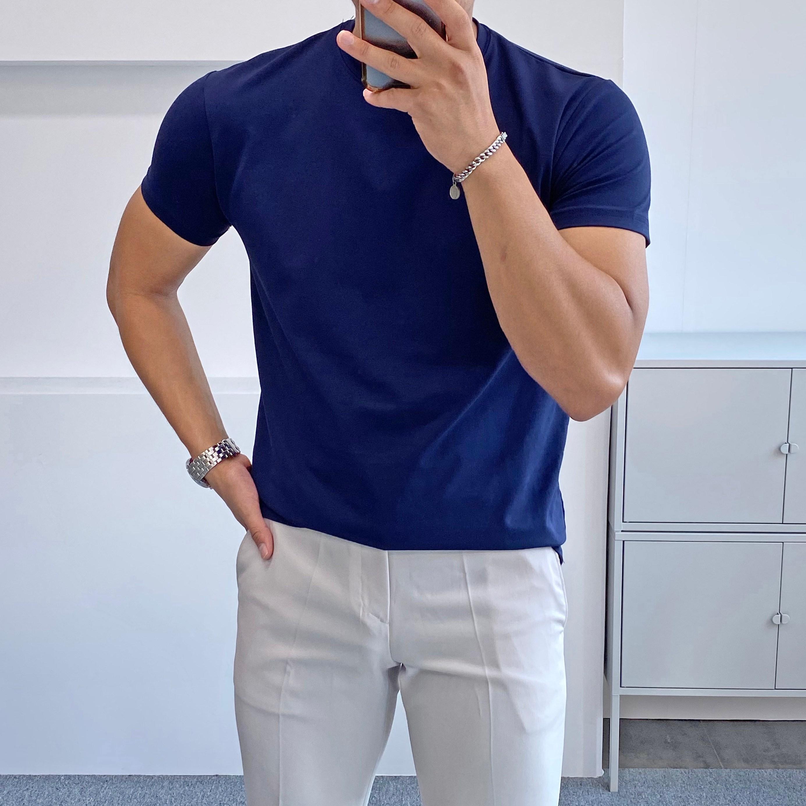 간빠레 쿨링 탄탄 머슬핏 남자 반팔 티셔츠