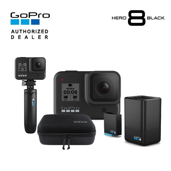 [GoPro] 고프로 HERO 8 Black 히어로 8 블랙 액션캠+신형 듀얼 배터리 충전기+배터리 킷+쇼티(미니 익스텐션 폴+삼각대)+여행용 케이스 케이시 Casey, 단품