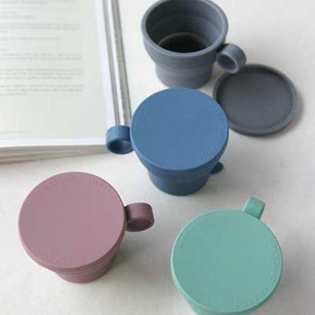 파스텔실용적인컵실리콘폴딩New머그컵 종류선택 그레이 그린 네이비 핑크, 응●그레이