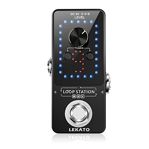 LEKATO 기타 이펙터 페달 기타 자벌레 페달 튜너 기능 루프 스테이션 루프 9 루프 40 분 일렉트릭 기타베이스 USB 케이블로 기