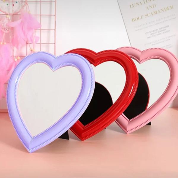하트 러블리거울 탁상용 화장대 벽걸이 인테리어 거울, 핑크