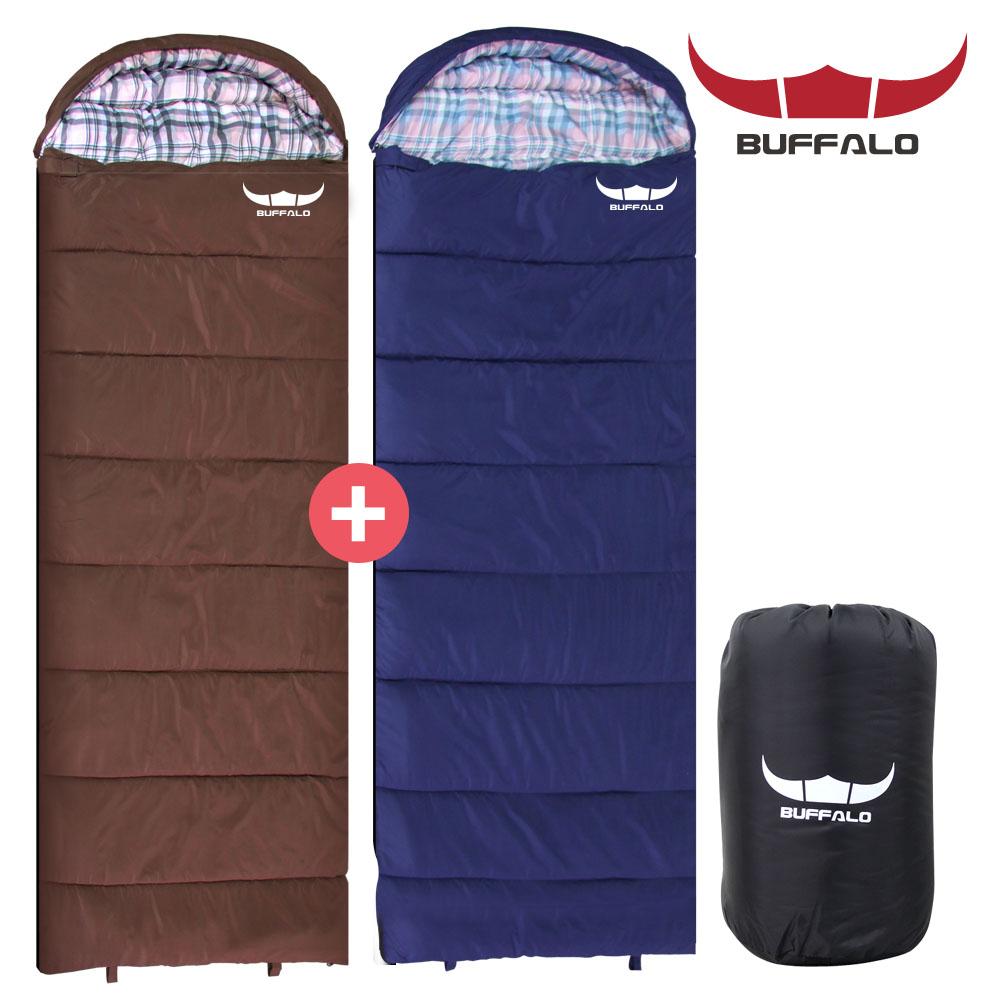 버팔로 포그니 침낭 1+1 캠핑 용품 컴팩트 경량침낭, 라임+스카이블루