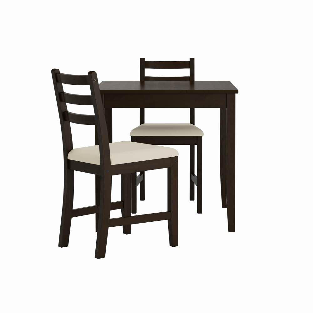 테이블+의자2 블랙브라운 비타뤼드 베이지 LERHAMN 74x74 cm, 기본