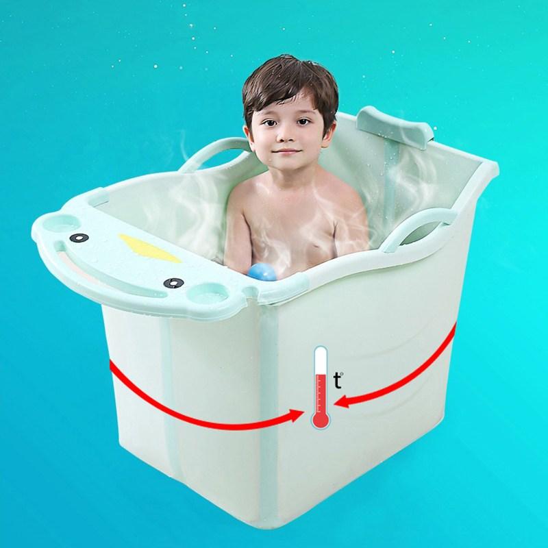 쥬베스 가정용 어린이 접이식 욕조 아기욕조-Q1398XR, 그린(52x40x55cm)