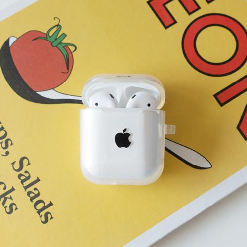 정녕마켓 [무료배송] 사과 애플 로고 프린트 에어팟 케이스 TPU 하드젤리, 투명(검정사과), 사과에어팟케이스