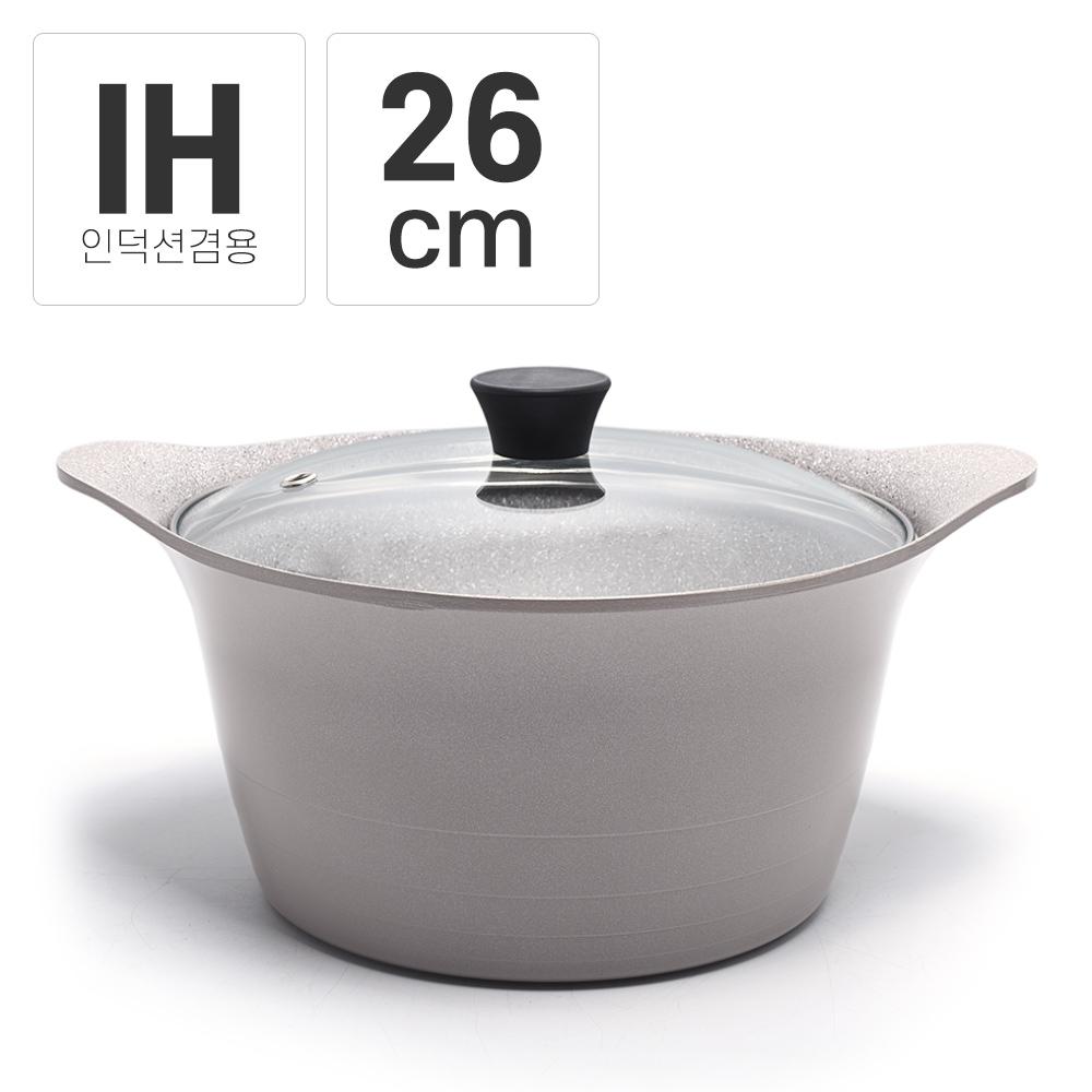 팰러스 세라믹 가스용 통주물 연그레이 곰솥냄비 26cm, 연그레이(마블)