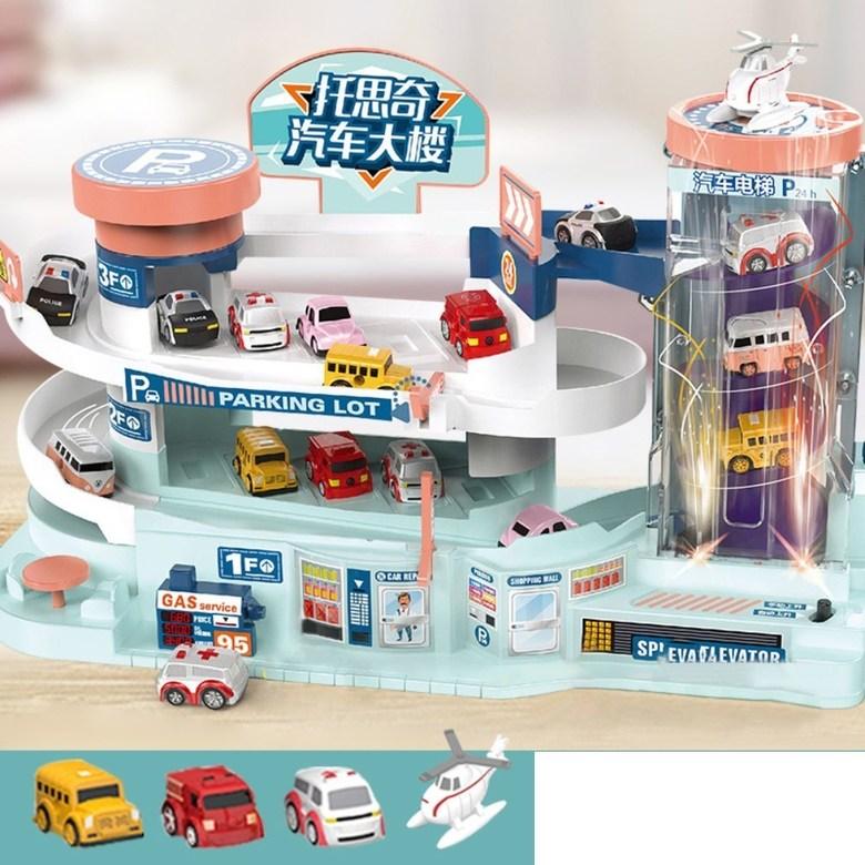 5층 대형 장난감 주차 타워 자동 엘리베이터 전동 컨트롤 작동 선물 서프라이즈 휴대폰 끊는법, 특대사이즈 주차장+LED+차3+비행기1