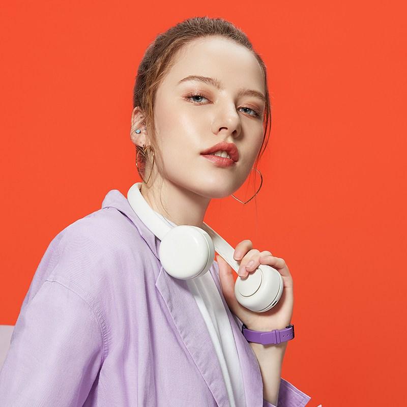 GUZI 심플한 휴대용 웨어러블 선풍기11-150, 화이트