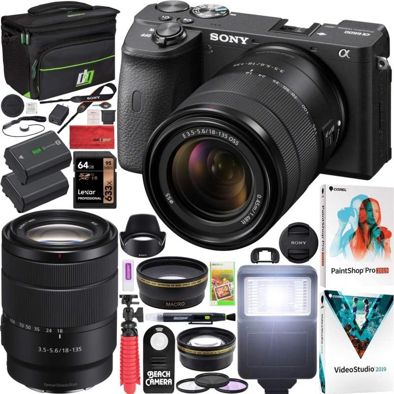 Sony a6600 미러리스 카메라 4K APS-C ILCE-6600MB 18-135mm F3.5-5.6 OSS 렌즈 키트 및 데코 기어 케이스 + 추가 배터리 +, 단일옵션
