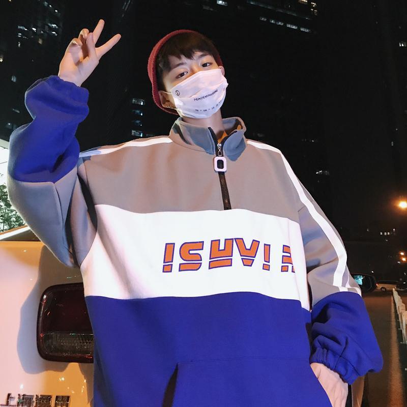 클로베코 남자 봄 가을 맨투맨 오버핏 빅사이즈 반집업 티셔츠 HS2506