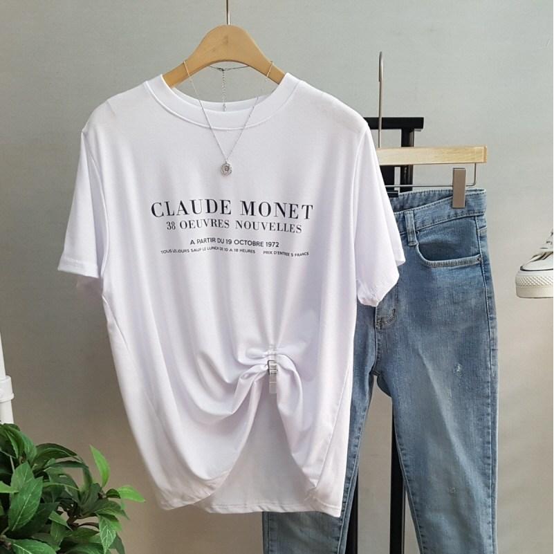 상상그이상 여성용 촉감왕 클로드 레터링 레이온 반팔 티셔츠