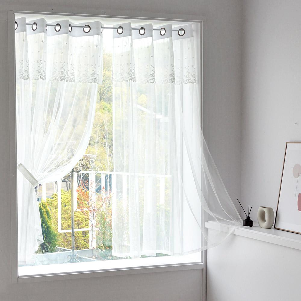 까르데코 디망쉬 창문 레이스커튼 2장 한세트, Y디망쉬 레이스 창문