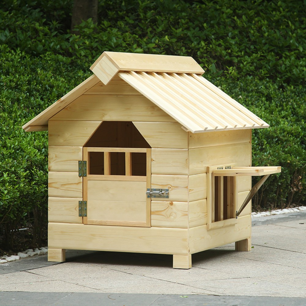 황토색 강아지 길고양이집 애견집 원목 나무 하우스 실외 마당 개집, 문과 창문이 있음