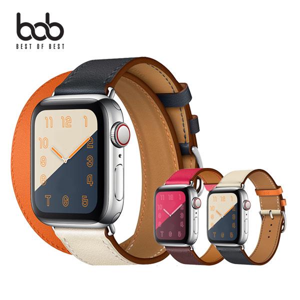 bob 애플워치 에스메르 컬러 가죽 밴드 스트랩 1 2 3 4 5 6세대 SE 38/40/42/44MM, 42_44MM공용, 네이비_더블투어