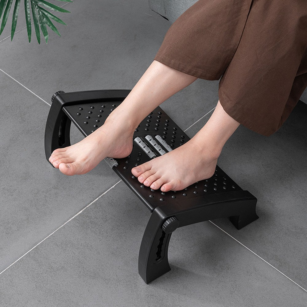 발받침대 사무실 발마사지 의자발받침 높낮이조절 각도 컴퓨터발, 블랙