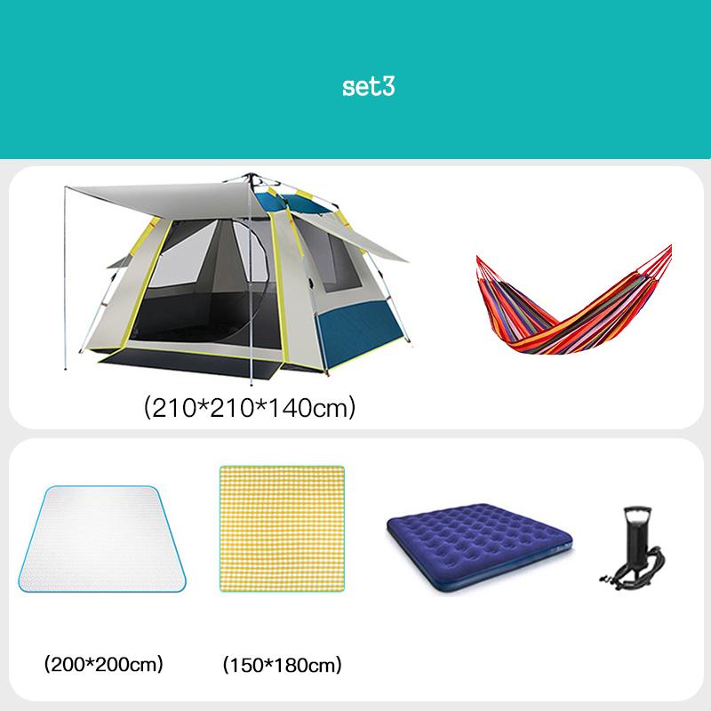 [유쉬터] 자동텐트 원터치텐트3-4인용자외선 차단 낚시용 공원용 방수텐트 세트, SET3