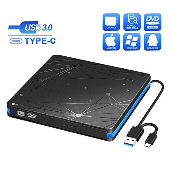 BluFire 외장 CD / DVD 플레이어 USB 3.0 및 Type C 외장 DVD 버너 휴대용 초박형 Windows XP / 7 /, 단일상품