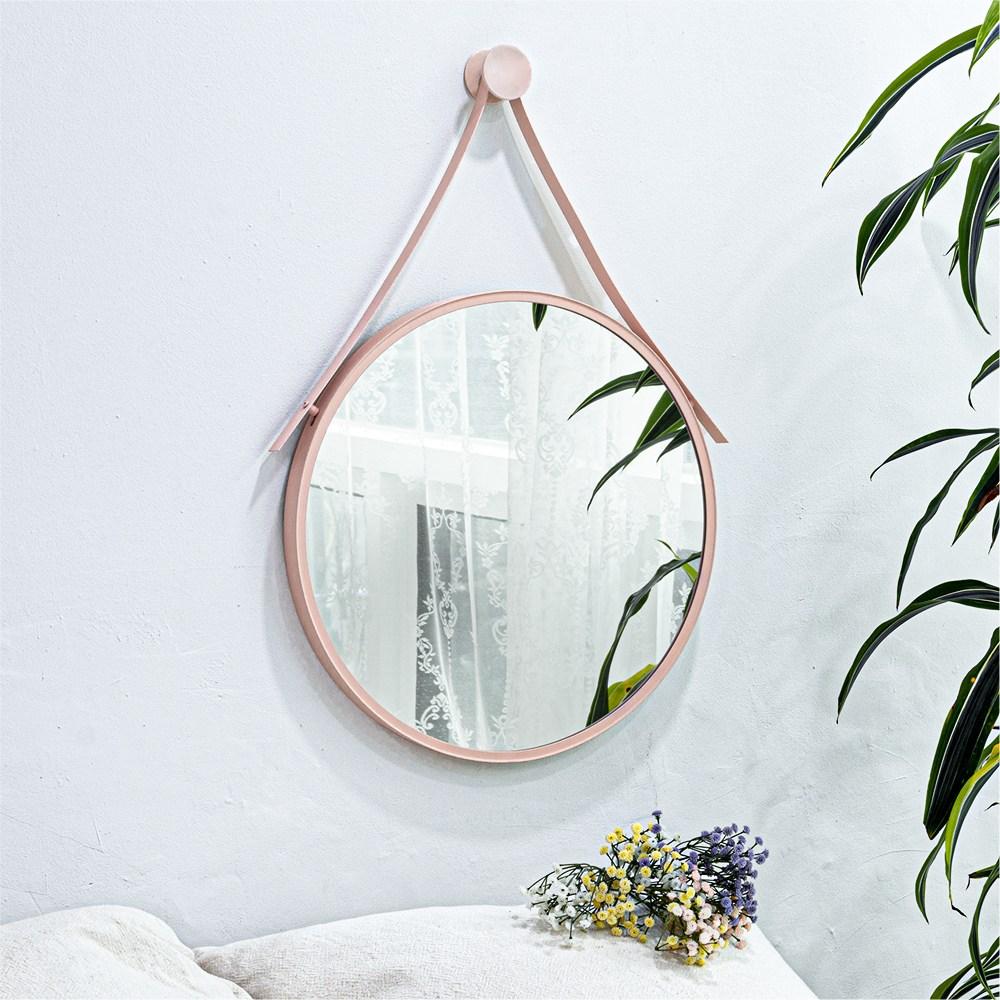 모카 알루미늄 원형 스트랩 거울 (골드 블랙 화이트 핑크 민트), 원형 스트랩 거울 - 핑크