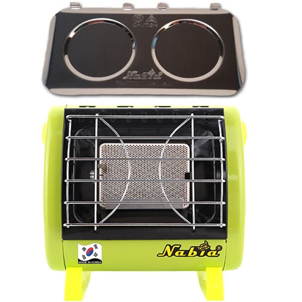 나비아 캠핑용가스난로 가스히터 휴대용난로 SGH-100, SGH-100 (그린) +열차단판, 1개