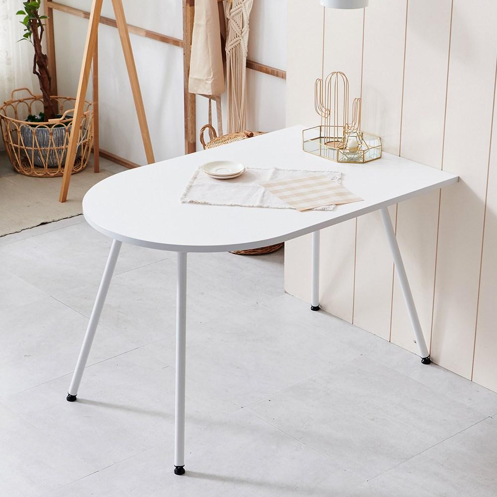 라자가구 하임 이지케어 4인 반타원 테이블, 화이트