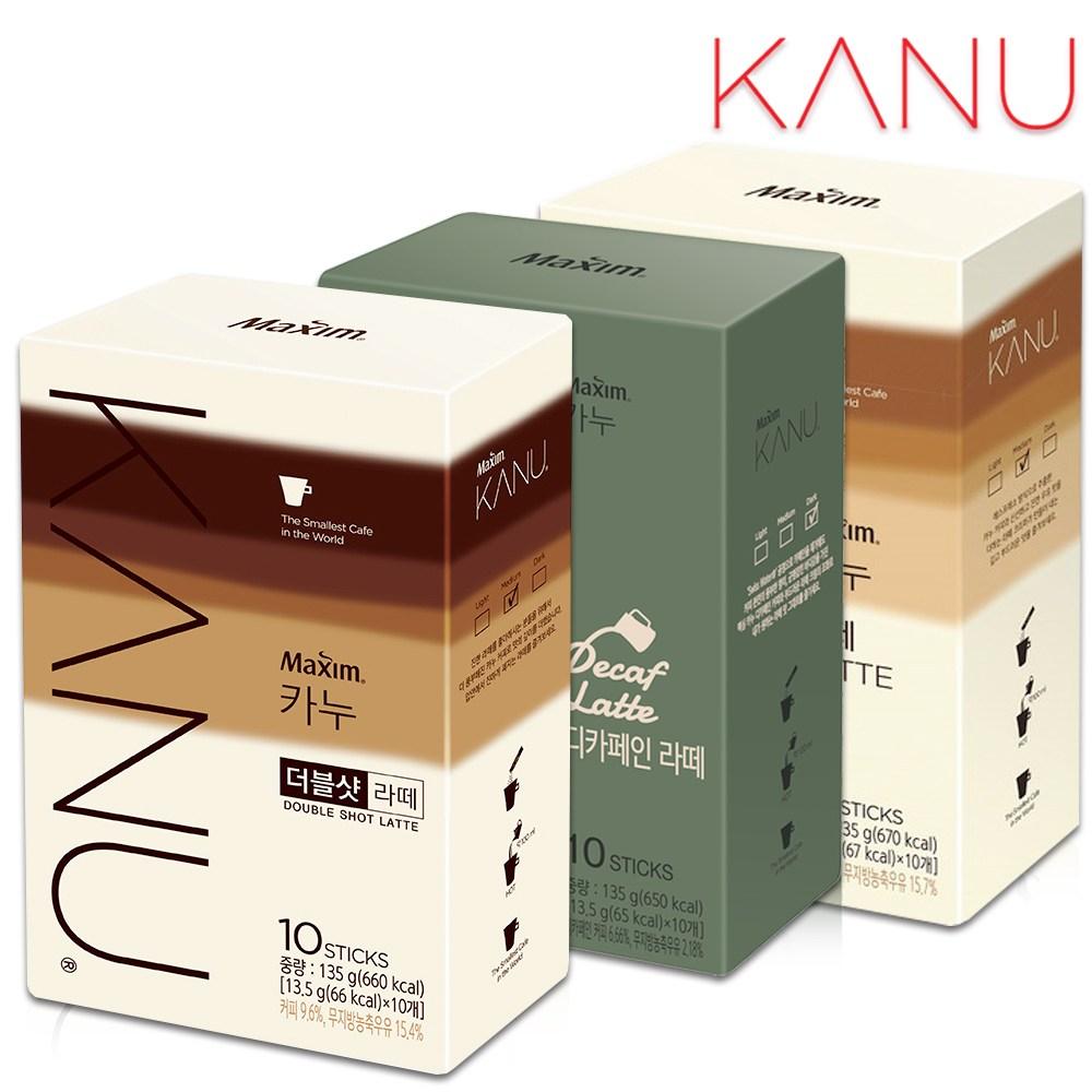 [카누] 카누 라떼 10T+더블샷라떼 10T+디카페인라떼 10T 커피 커피믹스 라떼, 3개, 13.5g