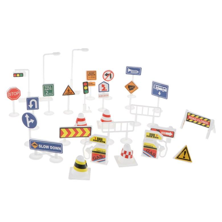 STK28 세트의 영어 도로 표지판 교통 표지 playset 척 놀이 장난감