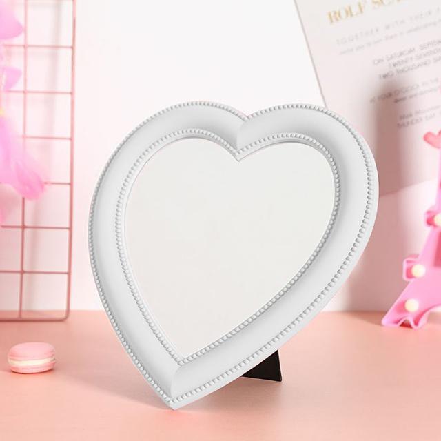 히든템 하트거울 핑크 하트 탁상 화장대 거울, 화이트