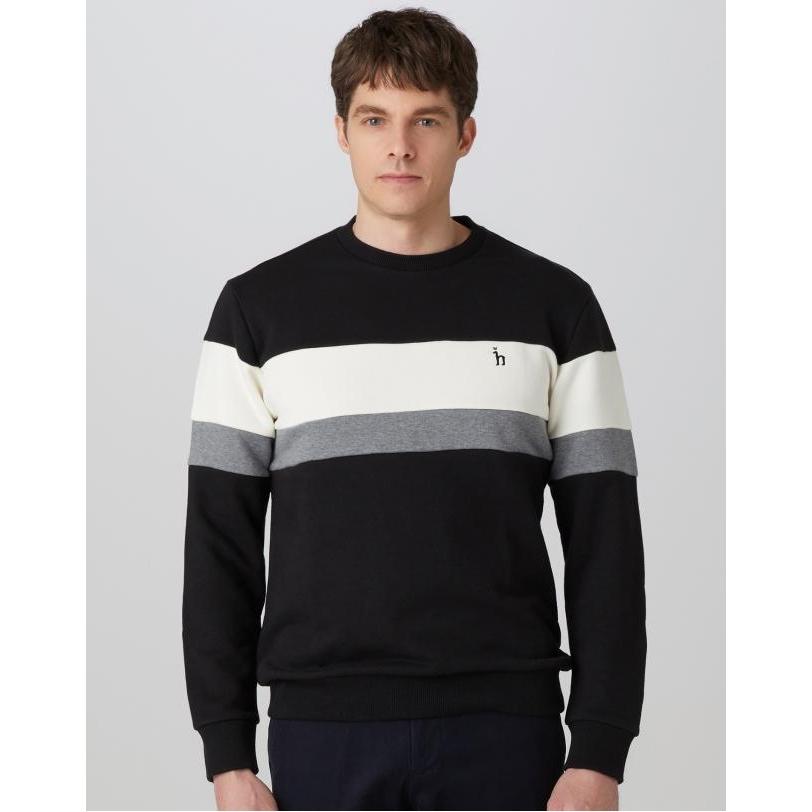 헤지스 남성 19FW 블랙 컬러블록 면혼방 긴팔티셔츠 WHTS9D021BK