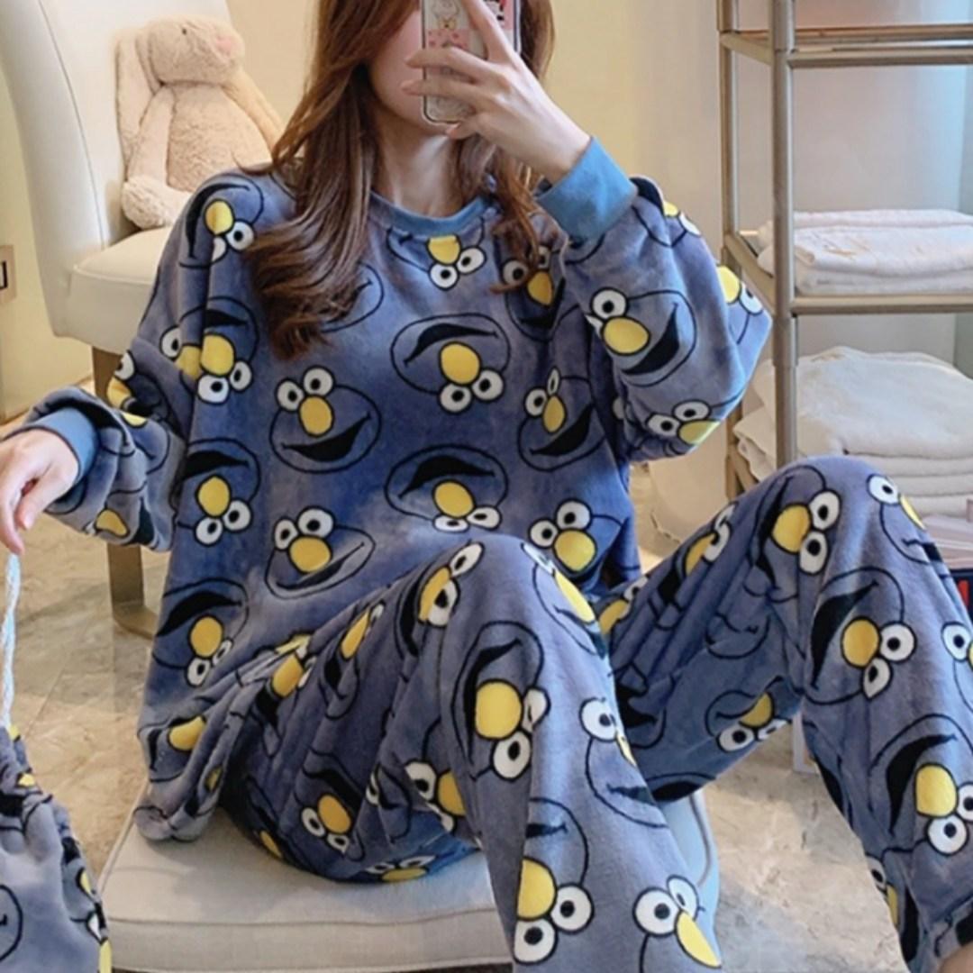 귀여운 엘모 부들부들 부드러운 여자 수면 잠옷